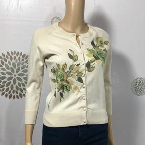 Banana Republic Beaded Silk Cardigan Sweater S